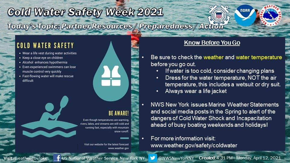 Cold Water Safety Awareness Week April 16