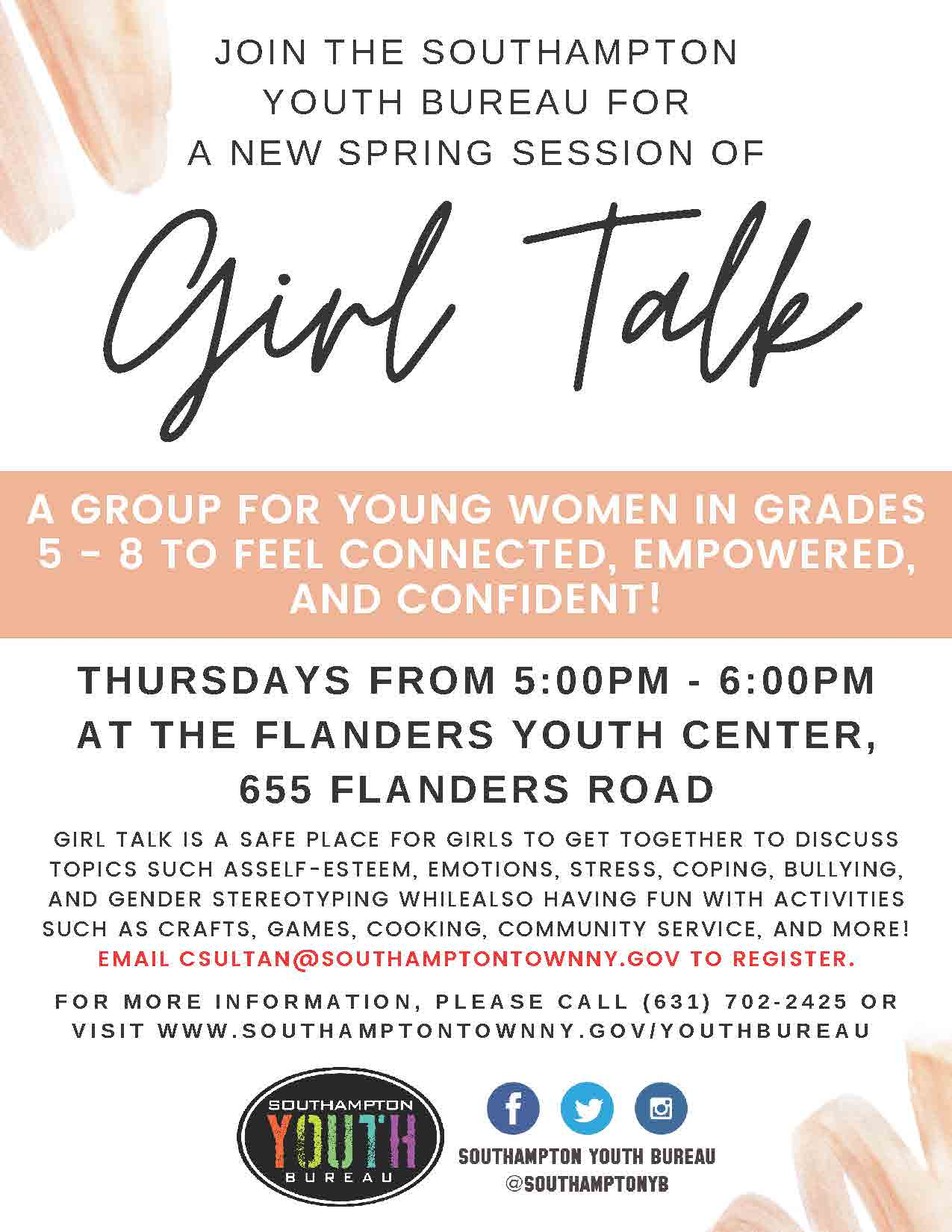 Girl Talk Flyer and Registration Form